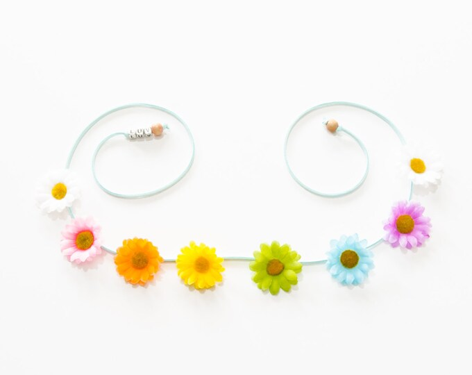 Pastel Rainbow Daisy Flower Crown