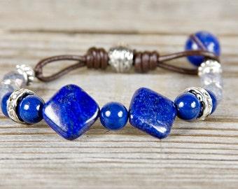 Blue beaded bracelet, Blue lapis beads, Lapis jewerly, blue lapis lazuli, deep blue bracelet, semi precious lapis, handmade, deep blue