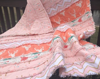 Woodland Baby Quilts. Deer baby Quilt. Handmade baby rag quilt. Baby rag quilts. Homemade baby quilt. Rustic baby quilts. Rag quilts.