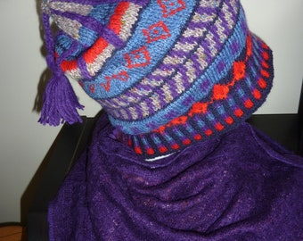 Fair Isle hat, hand knitted,  wool,  navy, red, blue purple.