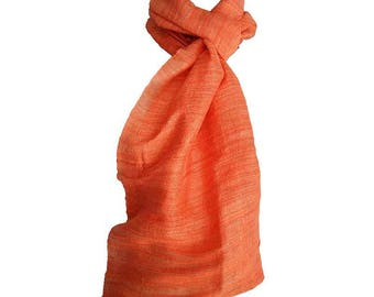 soft fine silk satin scarf orange