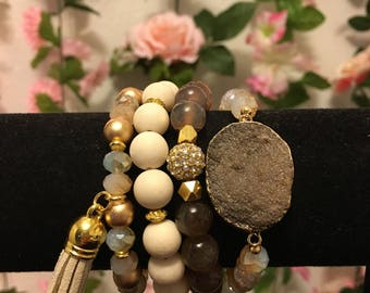 Tan/brown gemstone tassel bracelet set