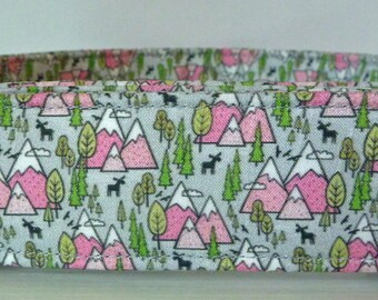 "Mountain Trees Dog Collar - Girl Dog Collar - Pink Mountains and Trees - Outdoor Collar - Hiking Collar - ""Cascades"" - Free Colored Buckles"