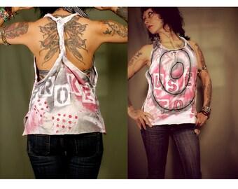 Sale. Clubwear Shirt, grunge tshirt, braided open back, racerback top, Tank Girl top. Destroyed tank top, black white red. Medium