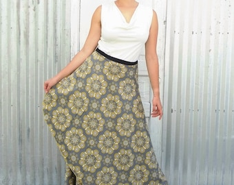 Organic Cotton Wrap Skirt - Maxi Skirt made from Soft Sateen Mandala Pattern Cotton - Yana Dee