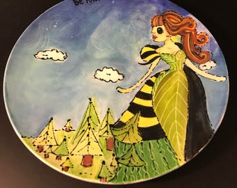 Be you-bumble bee queen ceramic hand painted salad plate