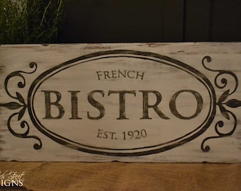 Shabby Chic Wall Decor - Hand Painted Bistro Sign - Customize With Your Name and Date