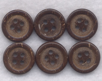 Coconut Wood Buttons Decorated Wooden Buttons 14mm (1/2 inch) Set of 12/Mini06
