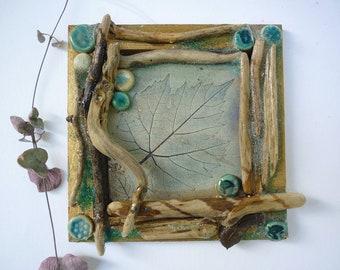 tableau de fée, bois et céramique,décoration nature,bois flotté et végétaux,cadeau rustique,art végétal,cadeau décoration,couleur nature