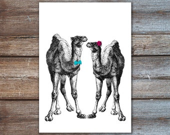 Couple Camels // Wedding Gift Poster // His and Her Print // 5x7 // 8x10 // A4