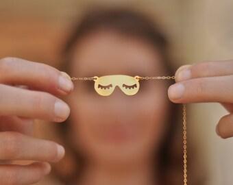 Sleeping Mask Necklace , Gold Eye Sleep Mask , Eyelashes Mask Jewelry , Mask Jewelry , Eye Mask , Sleep Mask , Blindfold , Sleeping Lovers