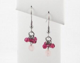 Purple And Pink Glass Dangle Earrings
