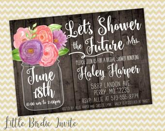 Rustic Bridal Shower Invitation, Watercolor Bridal Shower Invitation, Mason Jar Bridal Shower Invitation, Printable Bridal Shower Invitation