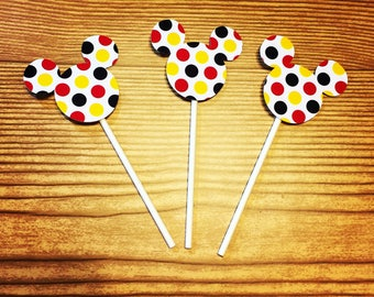 Mickey Mouse Cupcake Toppers (Polka Dot Red, Black and Yellow)