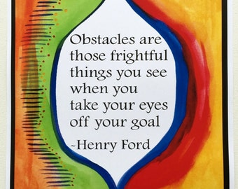 OBSTACLES Henry Ford 11x14 Goals Poster Inspirational Business Quote Motivational Print Office Wall Decor Heartful Art by Raphaella Vaisseau