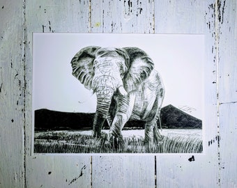 Elephant wall art | Picture | Animal print | Archival print | Original pencil drawing | Time lapse | Print only | Framed print available
