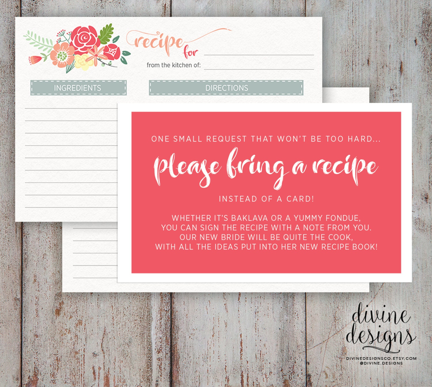 Recipe Card Bridal Shower Please Bring a Recipe Cute
