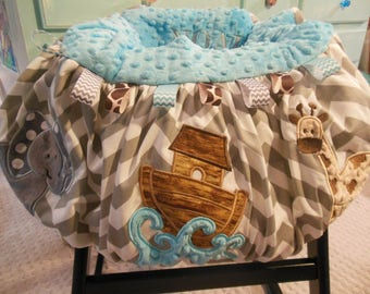 Noah's Ark Shopping Cart cover/highchair cover/noah's ark/elephant/giraffe/cart cover/buggy cover/warehouse cart cover/minky cart cover