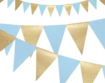 Boy Baby Shower Banner, Winter Wonderland Banner, Light Blue and Gold Party Decor, 6ft Photography Prop, Triangle Flag Bunting Banner