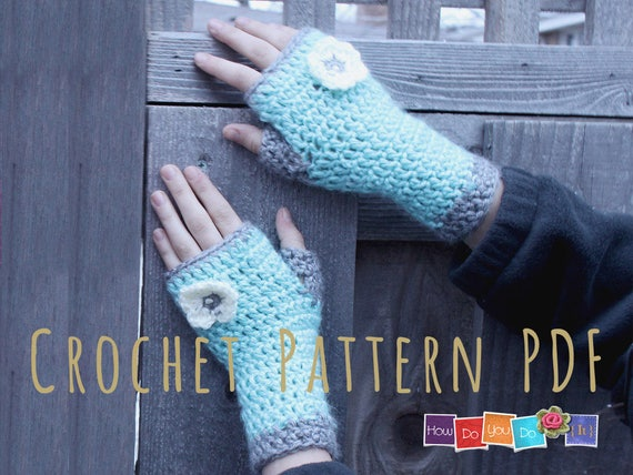 Pdf Crochet Pattern Fingerless Gloves For Kids Gloves For Girl