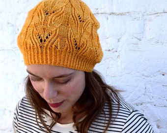INSTANT DOWNLOAD PDF Knitting Pattern for Women's Lace Hat, Lace Slouchy Hat, Beanie/Tam, Handknit Hat , Slouchy Lace Hat, Fall Hat