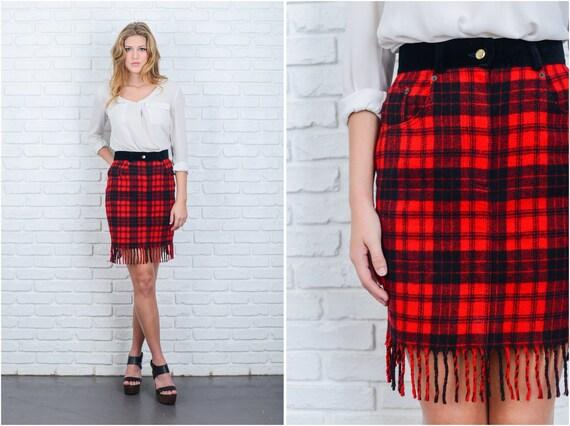 Vintage 80s Red Black Buffalo Plaid Skirt Mini Fringe