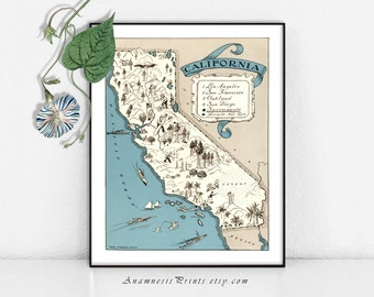 CALIFORNIA MAP PRINT - map art print - size & color choices - personalize it - framable vintage map art - lovely gift for may occations