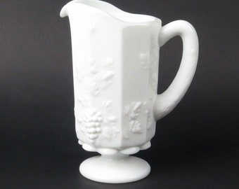 Westmoreland Paneled Grape milk glass pitcher vintage