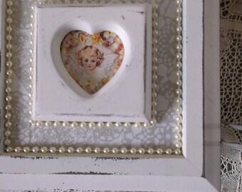 Victorian Angel shabby white storage box, embellished box, repurposed vintage