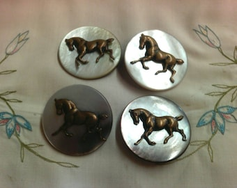 Mother of Pearl and Brass Horse Buttons.