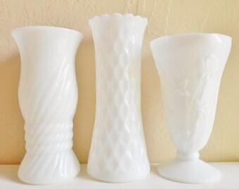 Set of 3 Three Unique Tall Large White Milk Glass Vases Centerpiece