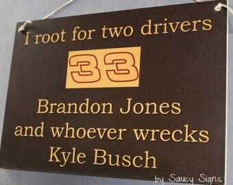 Brandon Jones wrecks Kyle Busch Racing Drivers Sign