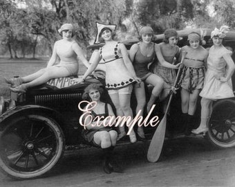 Digital download INSTANT.Many bathing beauties with old car real photo