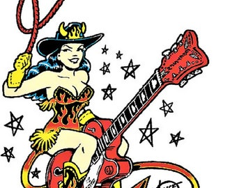 ART STICKER Guitar Cowgirl by Artist Vince Ray Decal #VR9