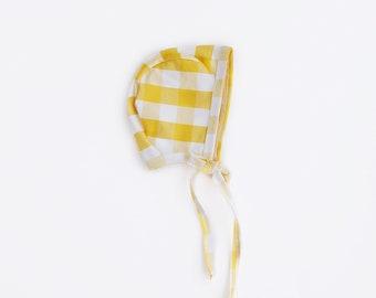 Mustard Gingham Bonnet NB - 5T