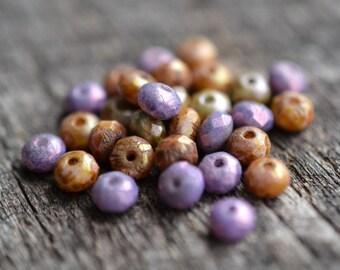 Purple Brown Orange Czech Glass Bead Mix / Rustic 5mm Picasso Rondelle Bead / Czech Jewelry Findings