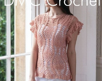 Crochet Pineapple Tunic Top Crochet Pattern only Natura Just cotton Yarn