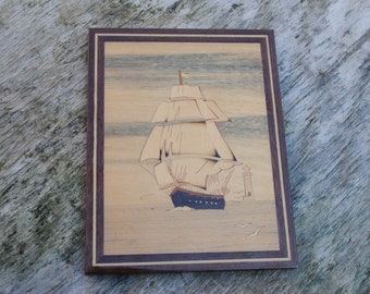Vintage Marquetry Inlaid Wood Clipper Ship Ocean Boat on the sea  Picture Wall Art