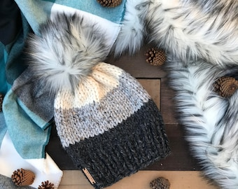 Wool Ombré Charcoal, Marble Grey, & Cream Hat w/ Faux Fur Pom Pom Hair Stripe Cap Earwarmer Accessory Knit Band Fashion Chunky Women Girl