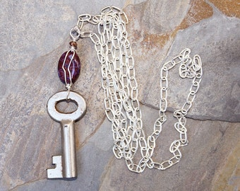 Antique Key Necklace, Purple Necklace, Agate Necklace, Handmade Necklace, Wire Wrapped Necklace, Repurposed Necklace, Stone Necklace
