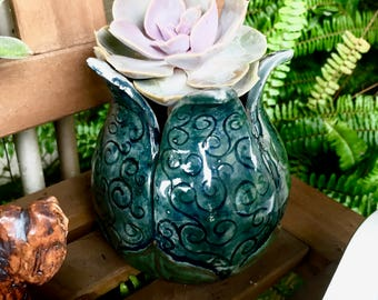 Blue Spiral Flower Pot