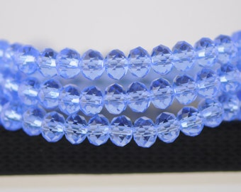 Rondelle Crystal Glass Faceted Beads 4x6mm Light Blue -(BZ06-83)/ 95pcs