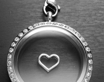 Silver Heart Floating Charm for Floating Lockets-1 Piece-Gift Idea