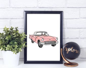 Pink Thunderbird Watercolor// Vintage// Printable