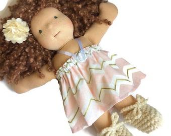 Pink gold chevron doll dress 12 13 14 inch Waldorf doll, crocheted doll shoes, doll hair clip, fits Bamboletta Cuddle doll, doll gift set