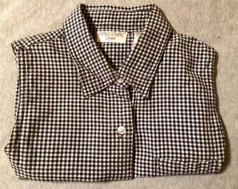 SALE: was 24 - Vtg 80s 90s Rockabilly Ska Black and White Gingham Shirt - Sleeveless Tank Button Down Plaid Check Collared Shirt