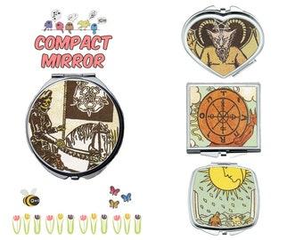 Vintage Tarot card compact mirror, makeup mirror, compact make up mirror, small mirror, double sided compact makeup mirror, purse mirror