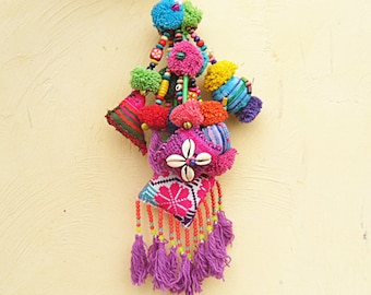 BOHO Chic Bag Swag Tasseled Tribal Gypsy Style Bag Charm Hmong Textile Large Purse Swag Hippie Tassel Bag Charm Trendy Teen Gifts