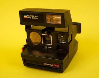 Vintage Polaroid Land Camera Autofocus 660 Hipster Retro Instant Photo 600 / Vintage 80s Gold Rainbow