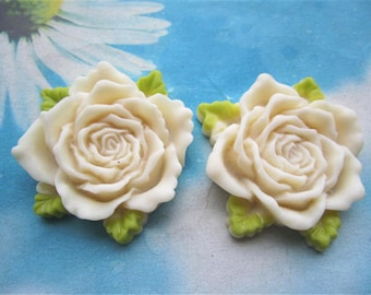 Large--2pc 45mm white resin flower cabochon/cameo charms--rose flower with green leaves